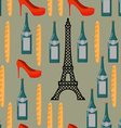 Paris seamless background French infinite pattern vector image vector image