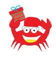 red crab put christmas hat and gift box happy isol vector image vector image