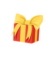 red gift box with big yellow bow happy birthday vector image vector image