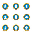 robe icons set flat style vector image vector image