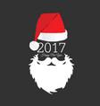 santa claus head with happy new year color vector image vector image