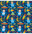 Seamless Pattern with Astronaut UFO Rocket vector image vector image