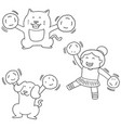 set of cheerleader dog and cat vector image vector image