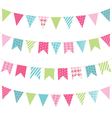 Set of multicolored flat buntings garlands with vector image vector image