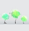 set of trees with green watercolor sprays element vector image