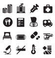 silhouette hospital icons set vector image vector image