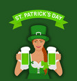 st patricks day greeting card irish girl vector image