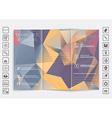 Tri-Fold Brochure mock up design Polygonal vector image vector image