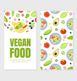 vegan food card template with organic healthy vector image