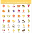 vegetables and fruits outline icon set vector image