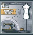 vintage tailor shop poster vector image vector image