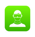 virtual 3d reality goggles icon digital green vector image