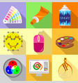 web designer tools icons set flat style vector image vector image