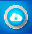 white cloud computing lock icon isolated vector image