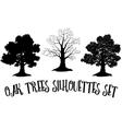 Oak Trees Black Silhouettes vector image