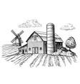 rural landscape farm barn and windmill sketch vector image