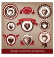 set of vintage and modern icons of strawberries vector image
