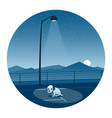 abandoned puppy round icon vector image vector image