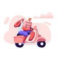 adorable couple cheerful seniors riding motorbike vector image