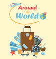around the world poster vector image vector image