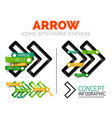 arrow linear style icons 3d cut out relief vector image