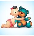 asian baby girl with hugs teddy bear toy