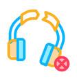broken earphones icon outline vector image