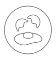 Broken egg and shells line icon vector image vector image