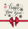 calligraphic text happy new year with snowflakes vector image vector image