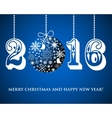 Christmas Snowflakes ball and numbers 2016 on blue vector image vector image