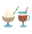 coffee with whipped cream beverage with foam vector image