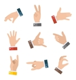 Collection empty hands showing different gestures vector image vector image