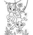 coloring book of little baby monkeys are jumping