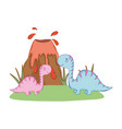 cute apatosaurus couple with volcano vector image