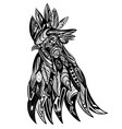 doodle art head rooster with vector image