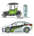 electric car with solar panels eco transport vector image vector image
