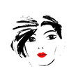 fashion girl in sketch style vector image