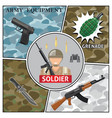 flat army colorful composition vector image