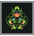 Floral ornament Green swirls and flowers frame vector image vector image