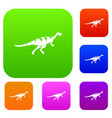 gallimimus dinosaur set color collection vector image vector image