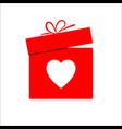 gift box and heart symbol for valentines day vector image vector image