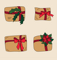 gift box or xmas craft present for winter holidays vector image