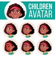 girl avatar set kid black afro american vector image vector image