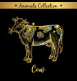 golden and royal hand drawn emblem of farm cow vector image vector image
