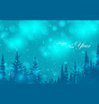 happy new year text blue blurred bokeh background vector image
