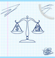 house and dollar symbol on scales line sketch icon vector image vector image