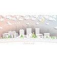 juneau alaska usa city skyline in paper cut style vector image vector image