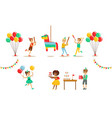 kids celebrating birthday set boy going to broke vector image