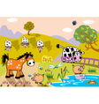 landscape with childish farm animals evening vector image vector image