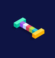letter i isometric colorful cubes 3d design vector image